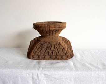 Indian Seeder Antique Wooden Sowing Tool Ethnic Artifact Wooden Candlestand E7
