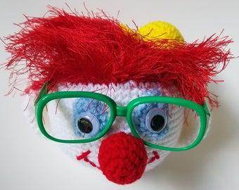 Clown Eyeglass Holder - Handcrafted in Polyester Yarn - Clown Eyeglass Stand