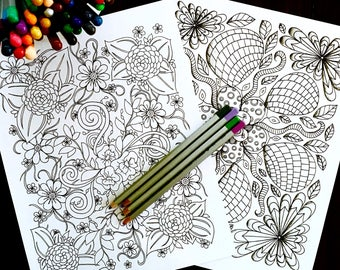 Adult Kids Floral Coloring Page Set Of Two Original Geometric Nature Art