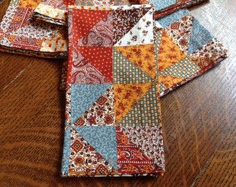 Handmade Cloth Dinner Napkins, Fall Color Napkins, Set of 6 Napkins, Cotton  Dinner Napkin, Patchwork Pattern Napkins