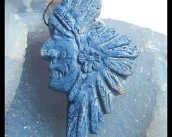New Design, Carved Blue Fossil Coral Indian Head Pendant,76x45x10mm,36.6g