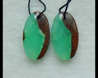 New,Chrysoprase Gemstone Earring Bead,25x14x5mm,6.6g