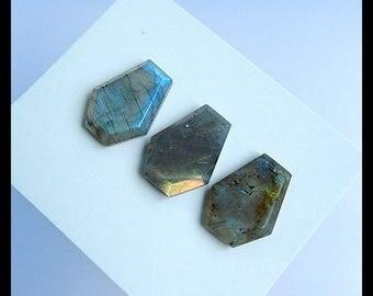 3 PCS Labradorite Faceted Gemstone Cabochon,19x14x5mm,9.06g