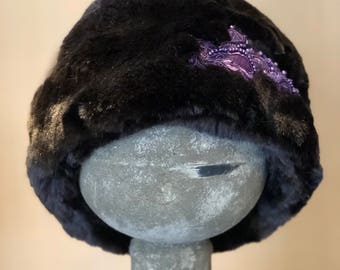 Tissavel Faux Fur Cloche with Beaded Applique