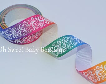 "Rainbow 7/8"" Fancy Swirls With Foil Accents Ribbon"
