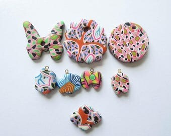 On Sale Polymer Clay Pendant Lot Butterfly Charm Pendant Mix