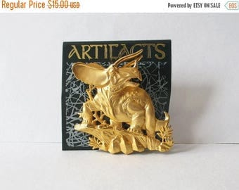 On Sale JJ Artifacts Gold Tone Dinosaur Pin Triceratops Vintage JJ Pin Original Card