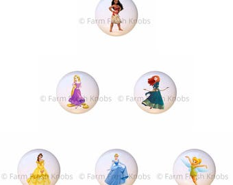 Set Of 6 Disney Princess Princesses Ceramic Drawer Pull Cabinet Knobs
