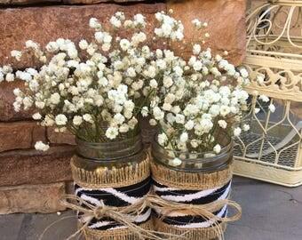 Mason Jar Wraps, BLACK Zebra & Burlap Jar Wrap, READY to SHIP, Shower, Party, Wedding, Decor, Centerpiece