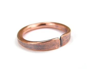 Copper Band Wire Ring, Copper Band Ring Any Size, Antique Copper Ring, Stackable Ring