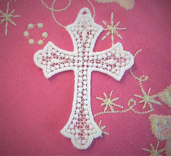 Stand Alone Lace Embroidery Designs : Cross lace embroidery design fsl free standing