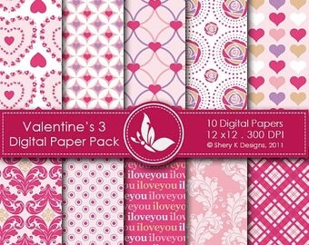 40% off Valentine's Paper Pack 3 - 10 Digital papers - 12 x12 - 300 DPI ////// 3