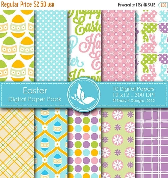 40% off Easter Paper Pack - 10 printable Digital Scrapbooking papers - 12 x12 - 300 DPI