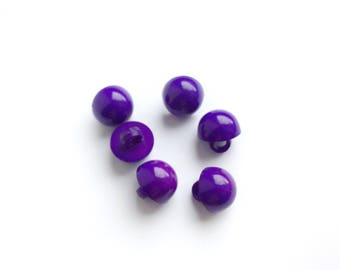 6 Purple Ultra Violet Plastic Buttons, 12mm