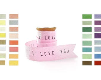 Personalized Ribbon . 4 YARDS i love you ribbon . personalized wedding gifts shabby chic wedding decor wedding favors