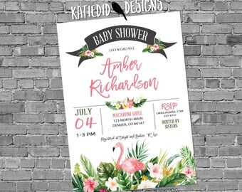 Tropical Invitation flamingo Baby shower sip and see sprinkle reveal birthday bridal retirement bachelorette wedding 1384 hibiscus floral