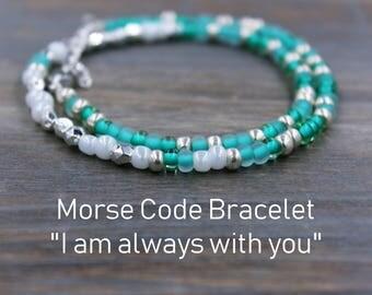 Distance Bracelet - Couples Bracelet - Long Distance Relationship Gift for Girlfriend - Distance Gifts - Army Girlfriend Bracelet - LDR Gift
