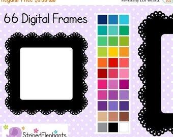 40% OFF SALE Lace Square Digital Frames - Clipart Frames - Instant Download - Commercial Use