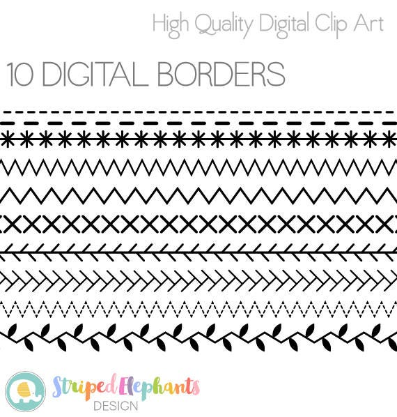 Digital edging sewing stitches borders instant
