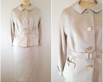 Vintage 1950s Jack Sarnoff Skirt Suit / Cream Oatmeal Wool Suit / Winter Suit / Small