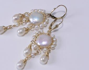 Gemstone Earrings Freshwater Pearl Earrings  Sculpture Wire Wrapping Earrings Gift For Her