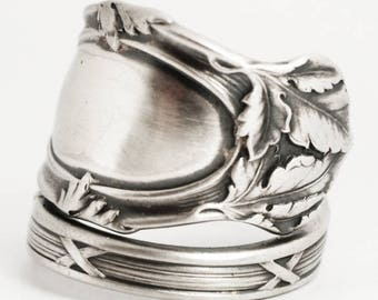 Leaf Ring, Organic Ring, Sterling Silver Spoon Ring, Oak Leaves, International Silver Co, Thumb Ring, Mono K, Adjustable Ring Size (6897)