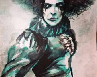 "Print of original watercolour "" Madame LeStrange"" by New Orleans artist Kristof Corvinus"