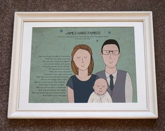 New baby Christening Portrait Bespoke Order Print