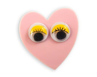 Pink Heart with google Eyes Brooch - Googly Retro Funny Cute Kawaii Kitschy Yellow Perspex Acrylic Laser Cut Pin Rad Bold Kitschy Quirky