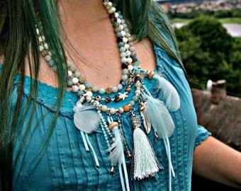 Bohemian style amazonite/ howlite/ dalmatian jasper/ feathers/ tassel/ Buddha head charm/ multi strand necklace