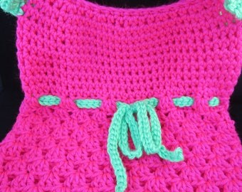 Crochet Hot Pink and Lime Green Toddler Tank Top-3T