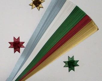 Metallic Xmas Mix Paper Strips for making Moravian German Froebel Stars - various sizes (100 strips per pack)