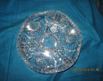 Vintage Clear Cut Glass Bowl w/ Pinwheels & Saw Tooth Rim