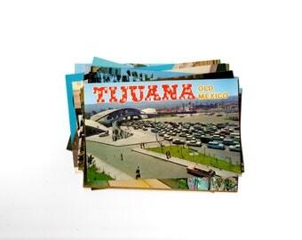 12 Vintage Tijuana Mexico Chrome Unused Postcards Blank - Unique Travel Wedding Guest Book, Reception Decor, Travel Journal Supplies