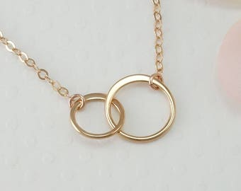 Bachelorette Party Rose Gold Two Circle Necklace, Best Friend Gift, Sister Necklace, Mom and Daughter Gift, Infinity Necklace, Birthday Gift
