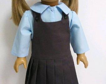 School Uniform Jumper fits American Girl Doll; 18 inch Doll School Uniform; Powder Blue Shirt for 18 inch Doll