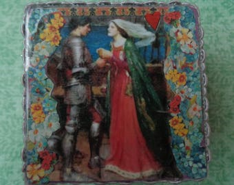 """John William Waterhouse """"Tristan and Isolde"""" Collage Trinket Box by Pepperland"""