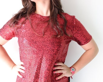 1980s Vintage RED SEQUINED Jazz Top....small to medium....fancy. 1980s. fabulous. dazzle. drop dead gorgeous. beaded. burlesque