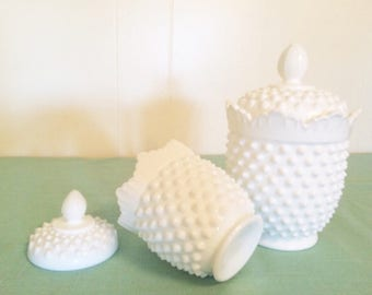 2 Fenton Canister White Lace Knob Fenton Covered Dish. Biscuit Cookie Jar. Romantic Lace Fenton Hobnail Outside. Fenton Canister