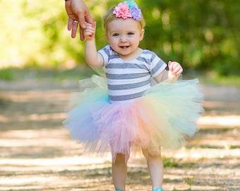 Pastel Rainbow Baby Tutu and Flower Headband - Baby Tutu - Tutu - Rainbow Tutu - Smash Cake Tutu - Birthday Tutu - Toddler Tutu - Unicorn