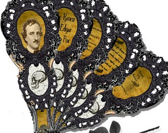 Printable Edgar Allen Poe  The Raven Gothic Victorian Mourning Fan collage sheets, craft project DIy Halloween costume prop