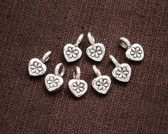8 of Karen Hill Tribe Silver Heart Imprint Charms 5x5.5 mm. :ka4304