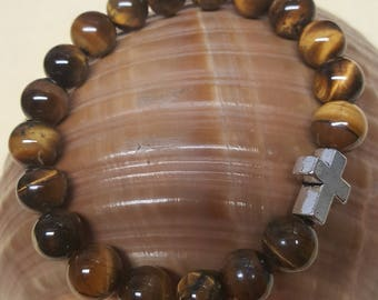 Tiger Eye Bracelet with Pewter Cross