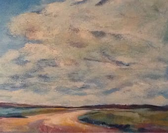 """Landscape semi-abstract painting 24""""x18"""" original acrylic on canvas"""