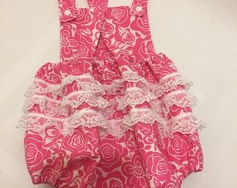 Pink Flower Baby Girl Romper ruffles 18 24 month