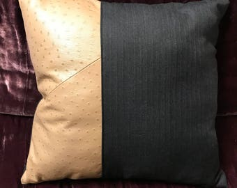 Designer pillow: Tan leather and grey pinstripe 16x16