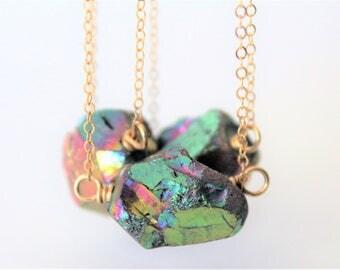 Raw Crystal Necklace, Boho Jewelry, Rainbow Quartz, Crystal Quartz Necklace, Raw Gemstone Necklace, 14K Gold