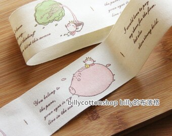 m345 - cotton tape/ sewing tape/ Ribbon -  pink pig