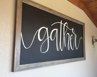 "Huge 72""x36"" Chalkboard & Wood Sign - Gather gray"