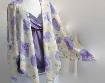 Purple Roses Open Front Shawl ruana shawls and wraps evening shawls lace shawl ruana wrap prayer shawl scarf shawl bridal shawl fantasy